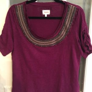 Anthropologie magenta short sleeve shirt top sz L